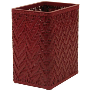 Elegante Raspberry Decorator Color Wicker Wastebasket