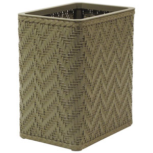 Elegante Sage Green Decorator Color Wicker Wastebasket