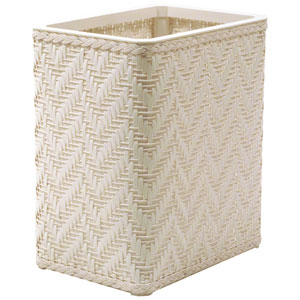 Elegante White Decorator Color Wicker Wastebasket