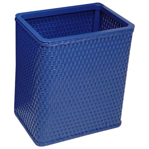 Chelsea Coastal Blue Decorator Color Square Wicker Wastebasket