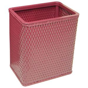 Chelsea Raspberry Decorator Color Square Wicker Wastebasket