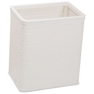 Chelsea White Decorator Color Square Wicker Wastebasket