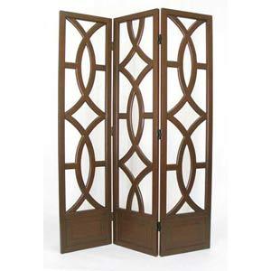 Brown Wood Geometric Room Divider