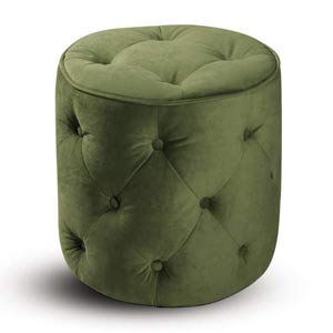 Curves Tufted Round Ottoman - Spring Green