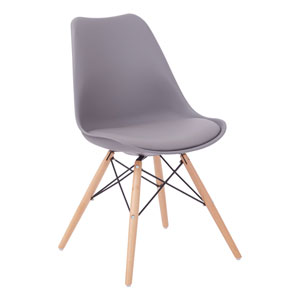 Allen Guest Chair in Grey with Natural Wood Base
