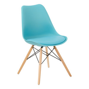 Allen Guest Chair in Teal with Natural Wood Base
