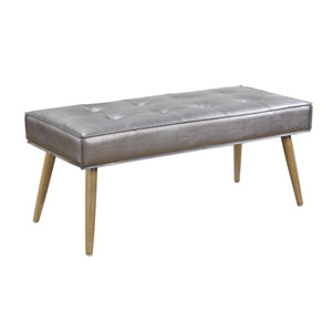 Amity Bench in Sizzle Pewter Fabric with Solid Wood Legs