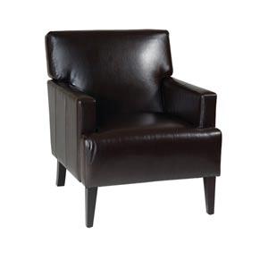 Carrington Espresso Bonded Leather Arm Chair