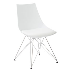 Eiffel Bistro Chair in White with Chrome Base, Set of 2