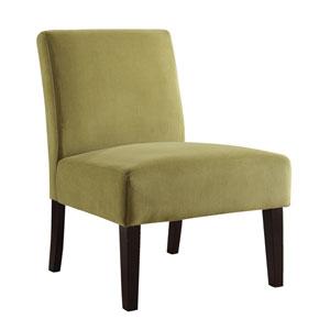 Laguna Chair in Basil Velvet Fabric with Dark Espresso Legs