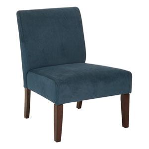 Laguna Chair in Azure Velvet Fabric with Dark Espresso Legs