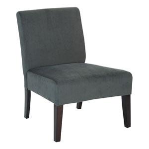 Laguna Chair in Graphite Velvet Fabric with Dark Espresso Legs