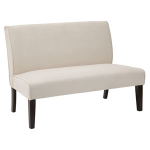 Laguna Loveseat in Oyster Velvet Fabric and Dark Espresso Legs