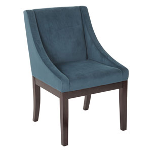 Monarch Easy-Care Velvet Wingback Chair in Azure Velvet Fabric with Solid Wood Legs