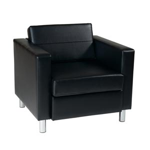 Pacific Black Faux Leather and Vinyl Arm Chair