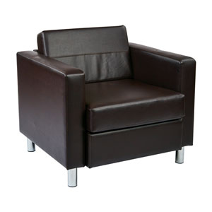 Pacific Arm Chair in Espresso Faux Leather
