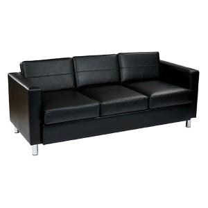 Pacific Black Faux Leather Sofa Couch with Spring Seats and Silver Color Legs