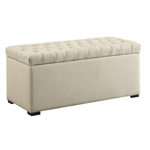 Sahara Linen Fabric Tufted Storage Bench