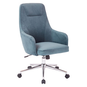 Marigold Desk Chair in Atlantic Blue Velvet with Chrome Base