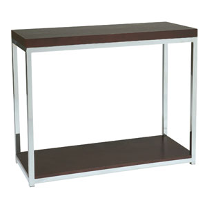 Wall Street Chrome and Espresso Console Table