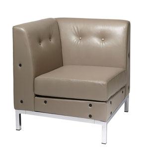 Wall Street Smoke Faux Leather Corner Chair
