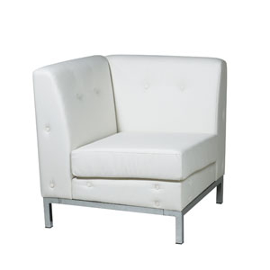 Wall Street White Faux Leather Corner Chair