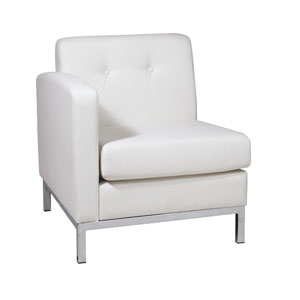 Wall Street White Faux Leather Left Arm Chair