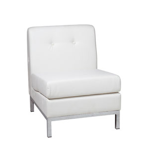 Wall Street White Faux Leather Armless Chair