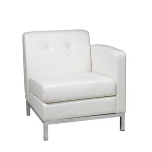 Wall Street White Faux Leather Right Arm Chair