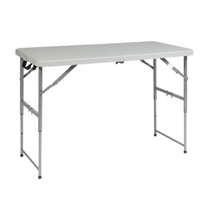 Work Smart Four Foot Height Adjustable Fold in Half Resin Multi Purpose Table