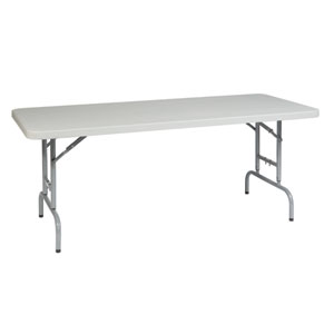 Work Smart Six Foot Height Adjustable Resin Multi Purpose Table