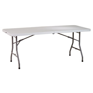 Work Smart Six Foot Resin Center Fold Multi Purpose Table