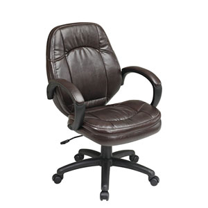 Executive Deluxe Chocolate Faux Leather Managers Chair with Padded Arms
