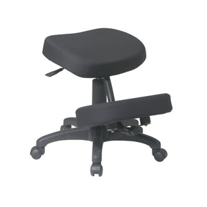 Executive Black Ergonomically Designed Knee Chair with Memory Foam