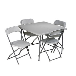Executive White Five-Piece Table Folding Set