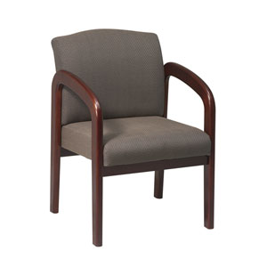 Work Smart Cherry Finish Wood Visitor Chair with Taupe Fabric
