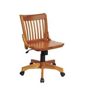 Deluxe Fruitwood Armless Wood Bankers Chair with Wood Seat