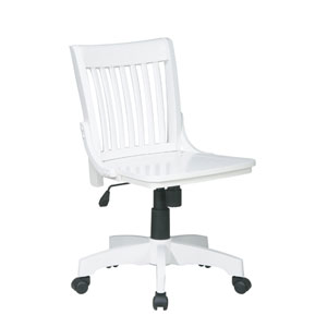 Deluxe White Armless Wood Bankers Chair with Wood Seat