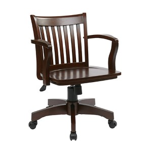 Deluxe Wood Bankers Espresso Wood Chair with Wood Seat