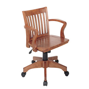 Deluxe Fruitwood Wood Bankers Chair with Wood Seat