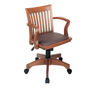 Deluxe Fruitwood Bankers Chair with Brown Vinyl Padded Seat