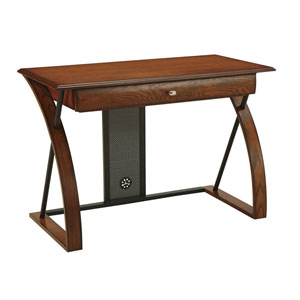 Aurora Medium Oak Computer Desk with Powder coated Black Accents