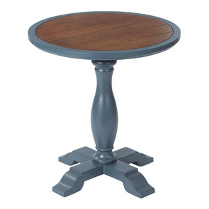 Aveline Accent Table French Blue Finish with Brown Top