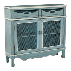 Mansfield Storage Console in Antique Steel Blue Finish Fully Assembled