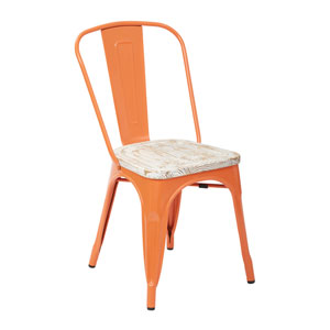 Bristow Metal Chair with Vintage Wood Seat, Orange Frame and Pine White Finish Seat, Set of 2
