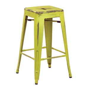 Bristow 26-Inch Antique Metal Barstools, Antique Lime Finish, Set of 2