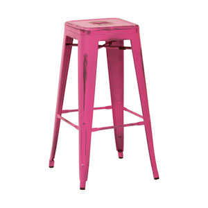 Bristow 30-Inch Antique Metal Barstool, Antique Pink Finish, Set of 4