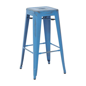 Bristow 30-Inch Antique Metal Barstool, Antique Royal Blue Finish, Set of 4