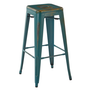 Bristow 30-Inch Metal Barstools, Antique Turquoise, Set of 4
