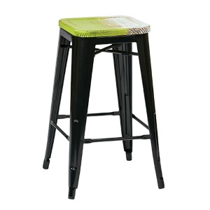 Bristow Black and Pine Alice 26-Inch High Antique Metal Barstool with Vintage Wood Seat, Set of 2
